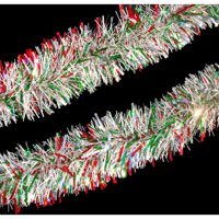 12' Holographic Red  Green and Silver Christmas Tinsel Garland - Unlit
