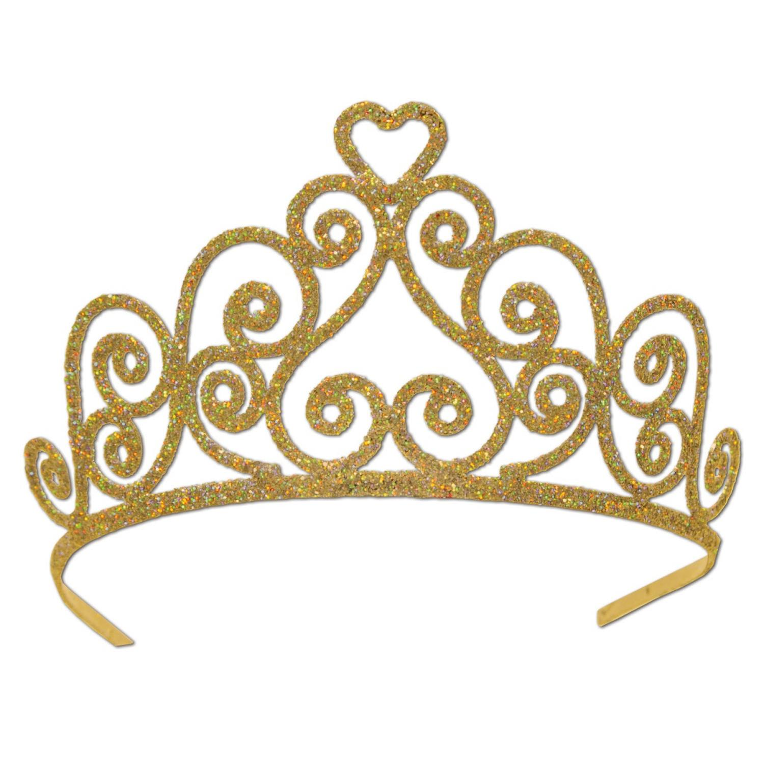 Pack of 6 Elegant Gold Glitter Encrusted Metal Heart Princess Tiara Costume