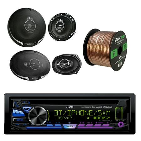 JVC 1-DIN Bluetooth CD/AM/FM Car Stereo with Kenwood KFC-1695PS 3-way 320W Car Speakers(Pair), Kenwood 6X9