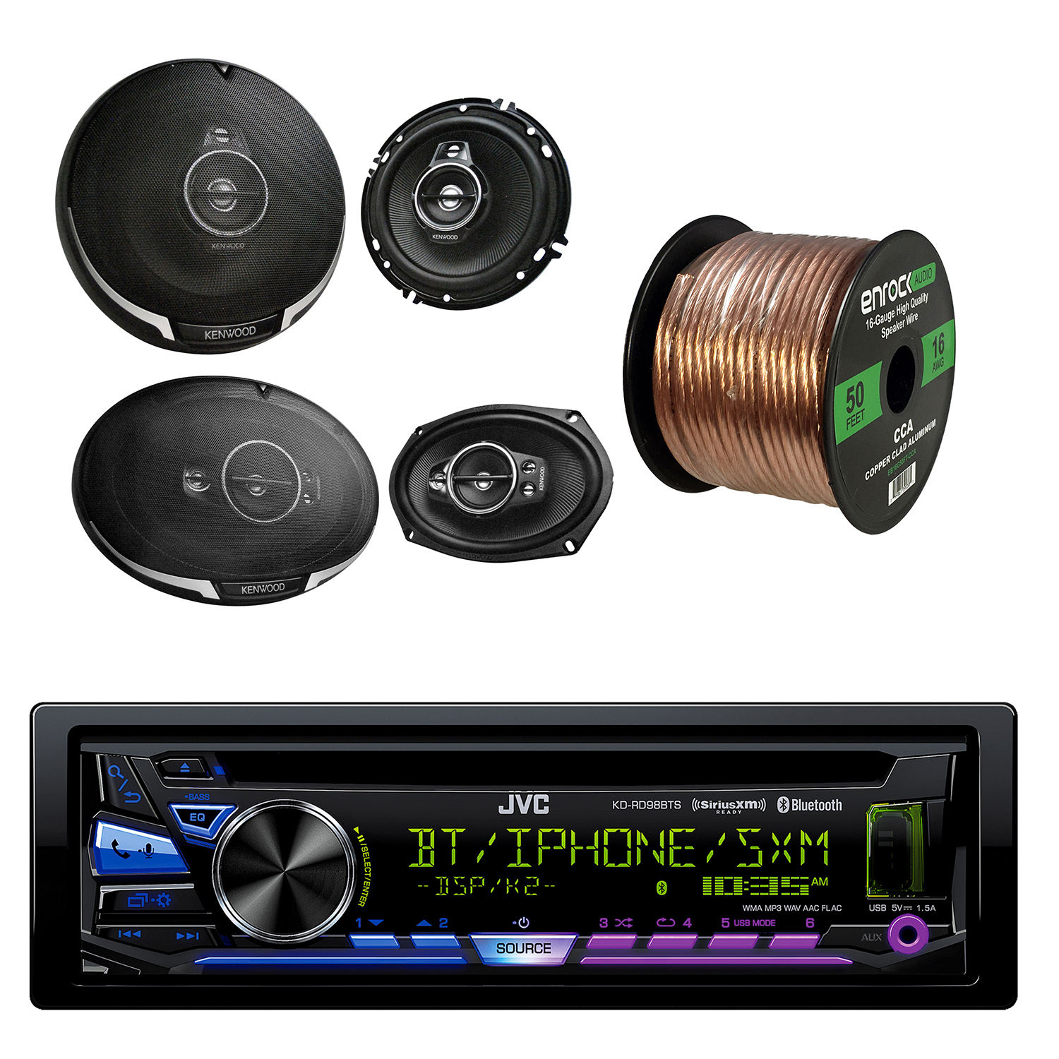 "JVC 1-DIN Bluetooth CD/AM/FM Car Stereo with Kenwood KFC-1695PS 3-way 320W Car Speakers(Pair), Kenwood 6X9"" 5-Way Speaker 650W(Pair) & Enrock 16-Gauge 50 Foot Speaker Wire"