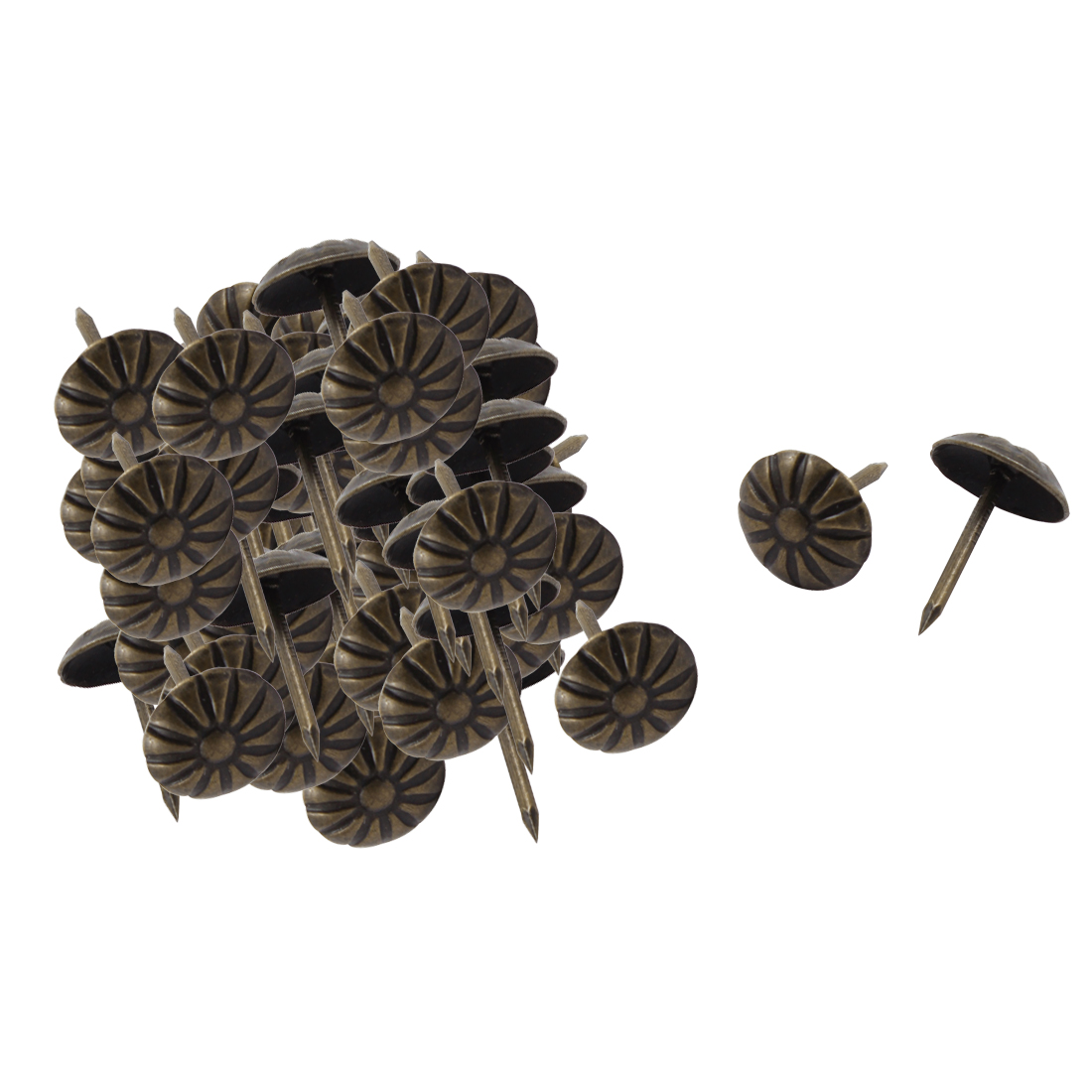 Furniture Chrysanthemum Pattern Upholstery Tack Nail Bronze Tone 11 x 16mm 80pcs