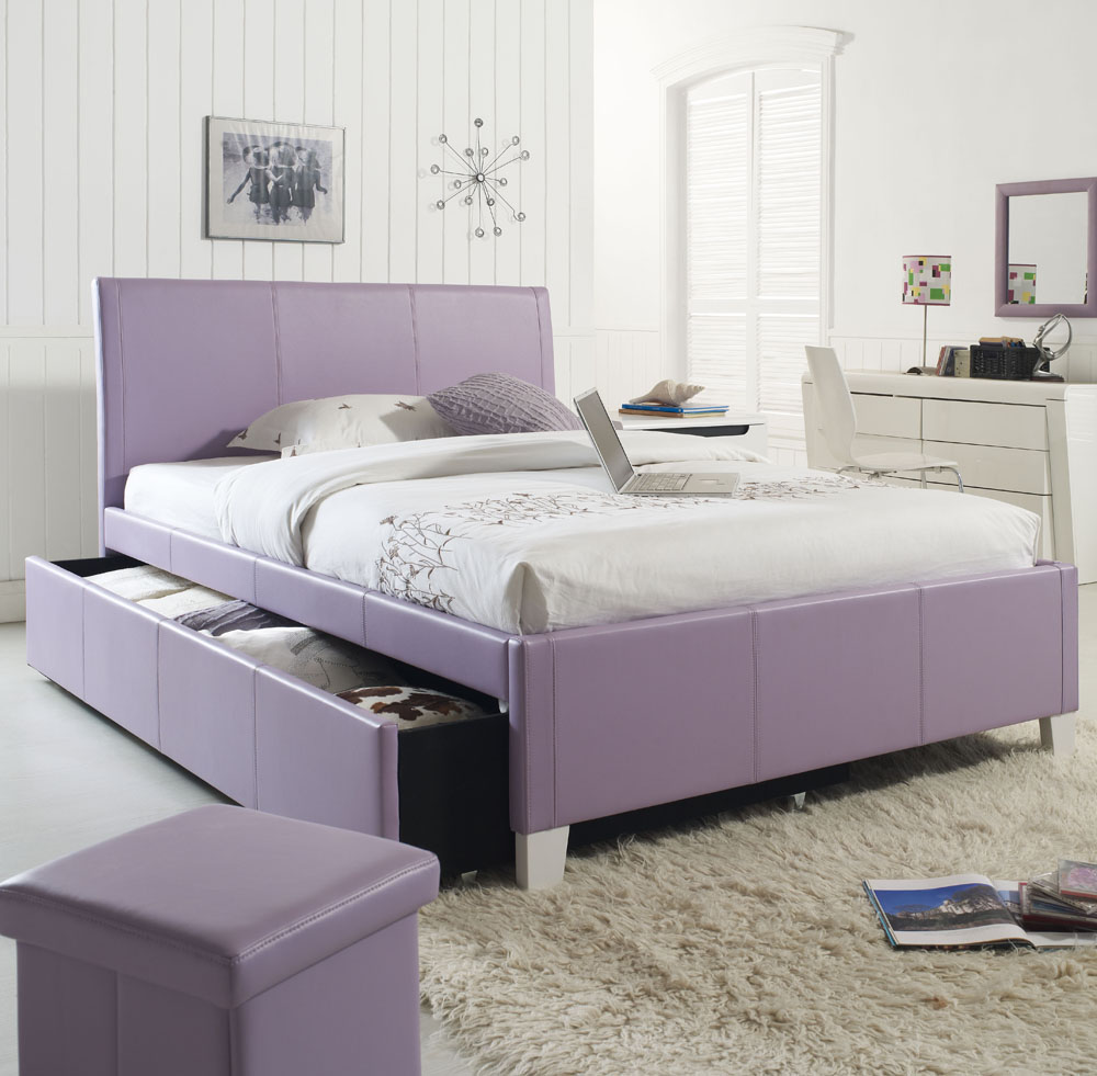 Standard Furniture Fantasia Upholstered Trundle Bed in Lavender (Twin) by