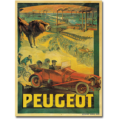 "Trademark Art ""Peugeot Cars, 1908"" Canvas Wall Art by Francisco Tamagno"