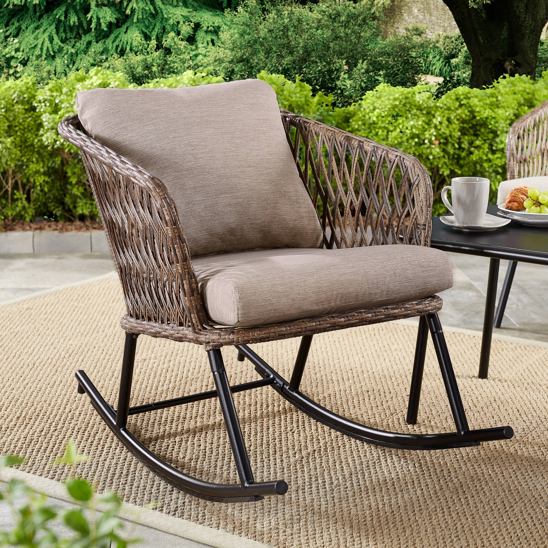 Details About Outdoor Rustic Rocking Chair Rattan Wicker Patio Furniture Garden Yard W Cushion