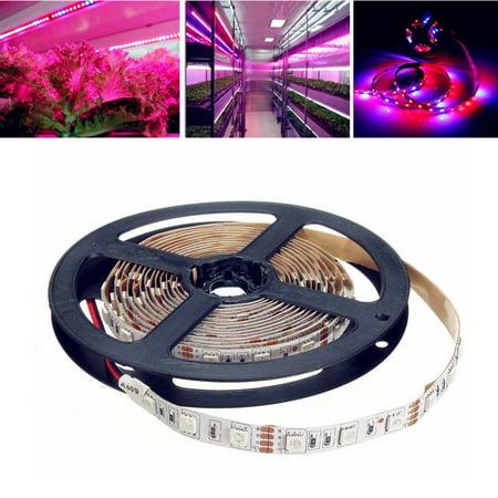 SOLMORE 6.6ft Waterproof Flexible LEDR RGB Strip Lights, 5050 SMD LEDs 12V DC LED Plant Grow Lights for Indoor Garden Greenhouse Hydroponic Plant Flowers Vegetables