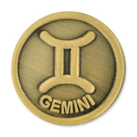 Gemini Twins Symbol (PinMart's Antique Gold Gemini Zodiac Twins Symbol Lapel Pin )