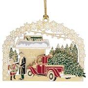 "3"" Red and Green 24K Tree Farm Christmas Keepsake Ornament"