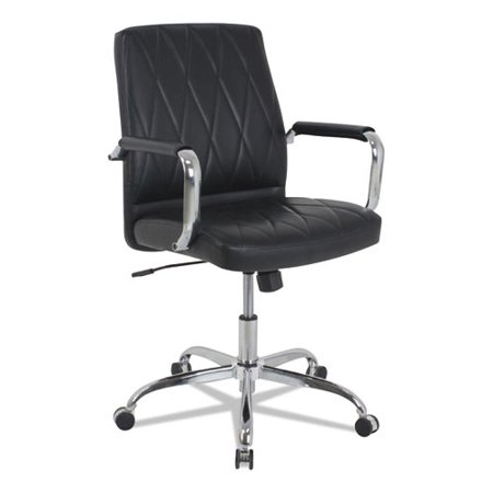 kathy ireland™ OFFICE by Alera® MID-BACK DIAMOND-EMBOSSED LEATHER OFFICE CHAIR, BLACK SEAT, 275LB CAPACITY