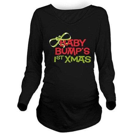 Baby Bumps 1st Xmas Long Sleeve Maternity Dark T-Shirt ()