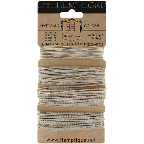 Hemp Cord Assortment, Natural, 104'