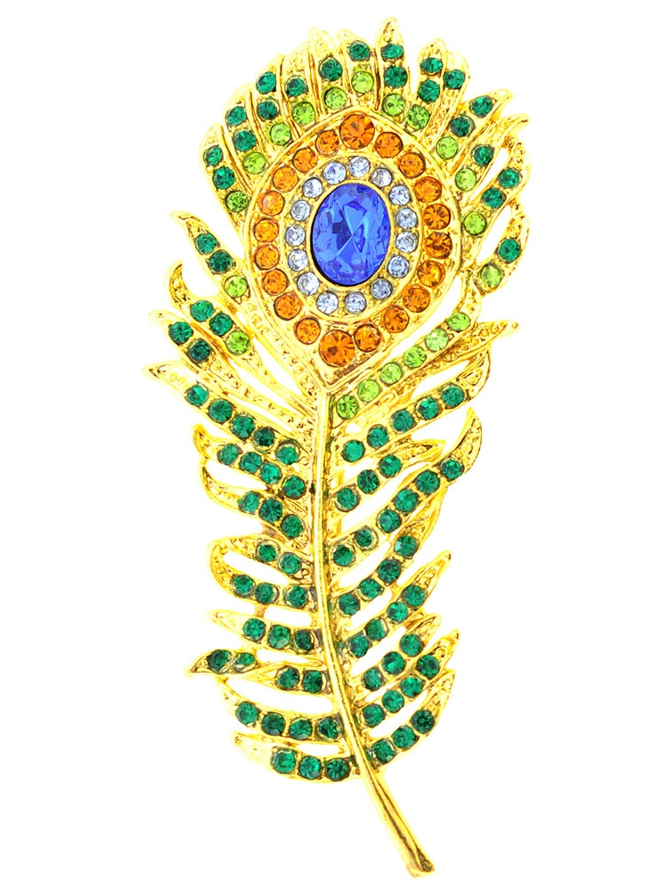 Green Golden Peacock Feather Emerald Crystal Pin Brooch by