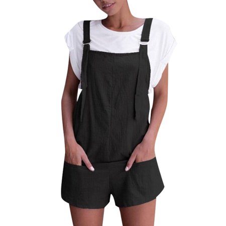 Women Strappy Loose Fit Summer Playsuit Dungarees Jumpsuit Overall Romper Shorts Black Duck Work Dungaree