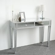 UBesGoo Mirrored Writing Desk Vanity Dressing Table Desk for Women with 2 Drawers Silver Glass Finish Makeup Table Media Console Table