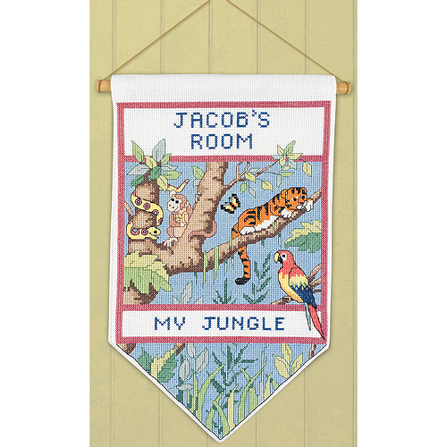 """Janlynn Jungle Banner Counted Cross Stitch Kit, 7"""" x 12"""", 14 Count"""