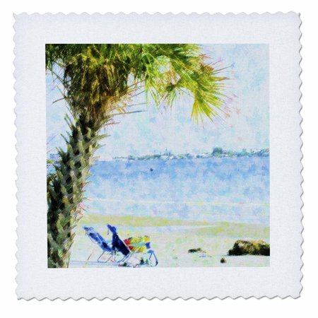 3dRose Blue Green Palm On Sanibel Beach - Quilt Square, 6 by 6-inch