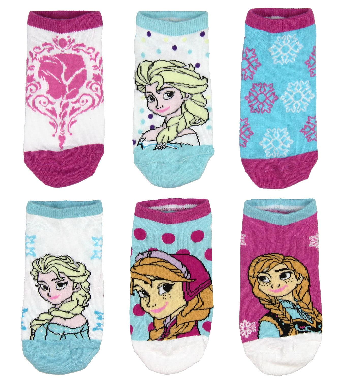 Disney Girls Frozen Anna Ed Elsa Six Pairs Socks