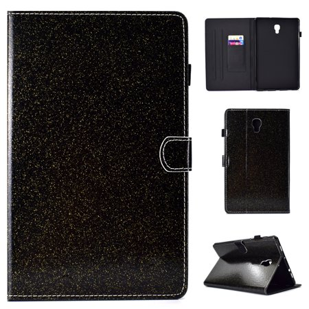 """Galaxy Tab S4 10.5 Inch Case T830 T835 T837 Model 2018, Allytech PU Leather Glitter Design Auto Sleep Wake Protective Slim Folio Stand Light Case Covers for Samsung Galaxy Tab S4 10.5"""", Black"""