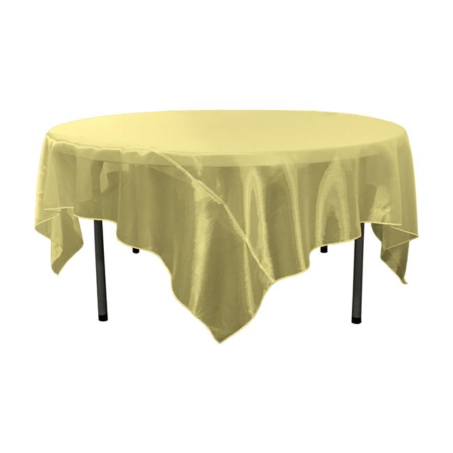 LA Linen TCOrgz90X90-Gold514 Sheer Mirror Organza Square Tablecloth, Gold 90 x 90 in. by LA Linen