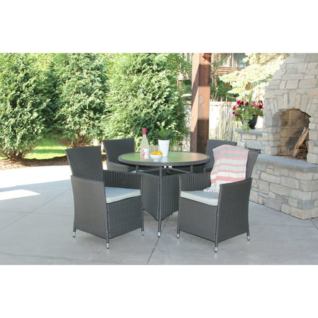 5 Piece Gray Wicker Outdoor Dining Set With Round Recessed Glass Table ()