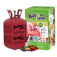 Balloon Time 9.5in Standard Helium Tank Kit (Includes 30 Assorted Latex Balloons and White Ribbon)
