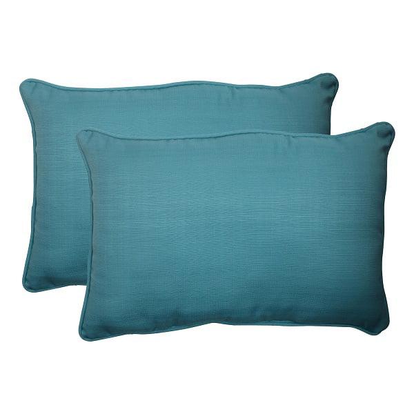 "Set of 2 Aquatic Turquoise Blue Outdoor Patio Rectangular Throw Pillows 24.5"""