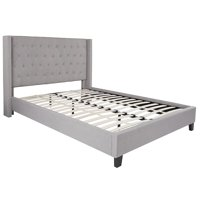 BSD National Supplies Conway Queen Size Light Grey Wingback Button Tufted Platform Bed with Nailhead Trim