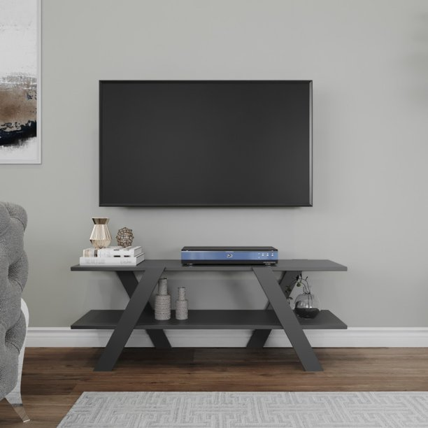 Modern TV Stand for TVs up to 55 inch, Entertainment Center with Sound Bar Shelf