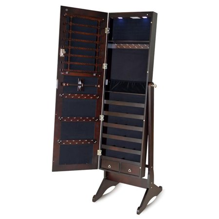 organizedlife full length mirror jewelry cabinet armoire chest with led light brown. Black Bedroom Furniture Sets. Home Design Ideas