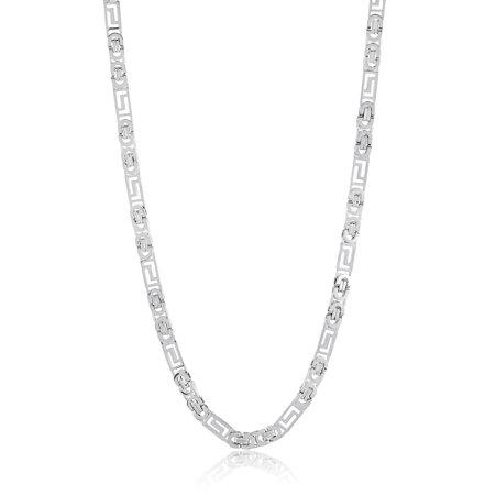 Stainless Steel Greek Key Flat Byzantine Chain Necklace - 22 - Gold Greek Key Necklace