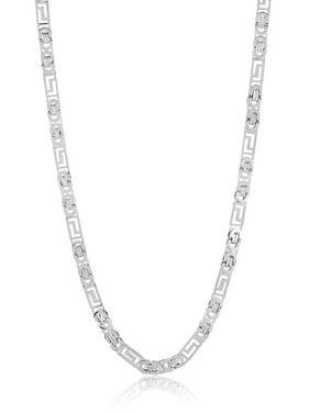 Stainless Steel Greek Key Flat Byzantine Chain Necklace - 22