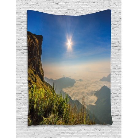 Landscape Tapestry  Mother Nature Inspired Cliff Mountain Wiev From The Peak Sunbeams Clouds Photo  Wall Hanging For Bedroom Living Room Dorm Decor  40W X 60L Inches  Multicolor  By Ambesonne