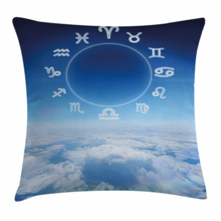 Astrology Throw Pillow Cushion Cover, Zodiac Signs Aquarius Pisces Aries with Sky Clouds Backdrop Art Print, Decorative Square Accent Pillow Case, 18 X 18 Inches, Sky Blue and White, by Ambesonne (Sky Backdrop)