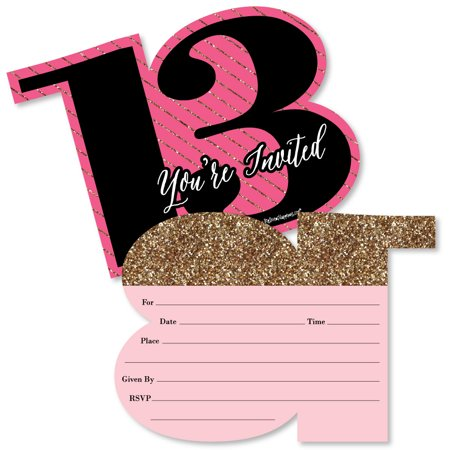 Chic 13th Birthday - Pink, Black and Gold - Shaped Fill-In Invitations - Birthday Party Invitations - Set of 12