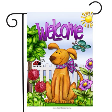 Welcome Dog Spring Garden Flag Cute Pets Flowers Butterfly Puppy 12.5