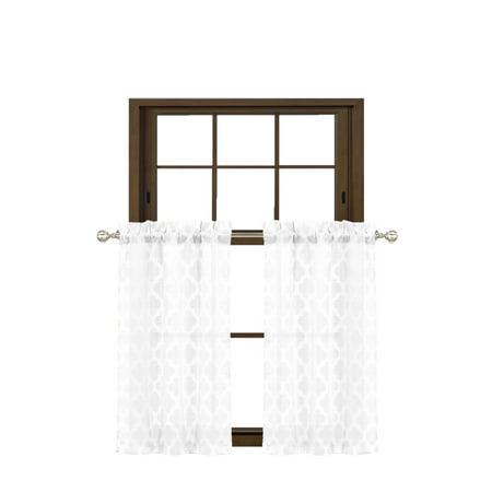Texured Design - Bathroom and More Collection Gray 2 Piece Window Curtain Café Tier Set Textured Moroccan Trellis Tile Design: 36