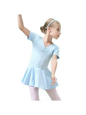 Girls Ballet Leotards Short Sleeve Back Bowknot Dance Leotards for Gymnastics