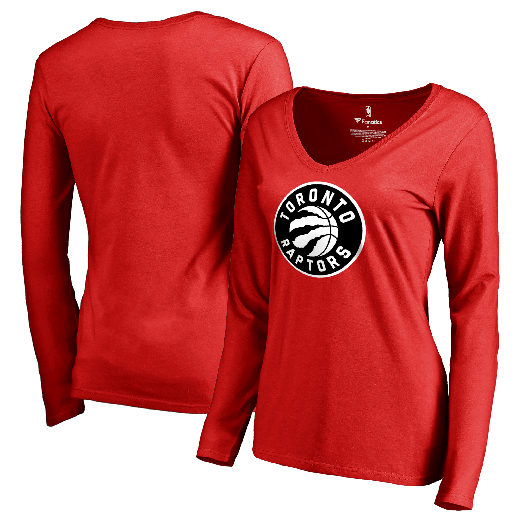 Toronto Raptors Fanatics Branded Women's Primary Logo V-Neck Long Sleeve T-Shirt - Red