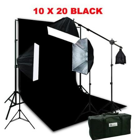 ePhotoInc 3200K Warm Lighting 10 x 12 Black Muslin Background Support Kit with 2400 Watt Video Photography Studio Light Set Case