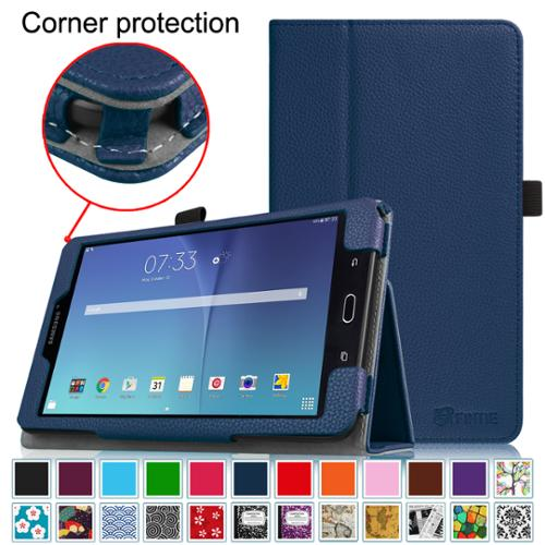 Fintie Folio Case for Samsung Galaxy Tab E 8.0 Tablet - Slim Fit Premium Vegan Leather Stand Cover, Navy