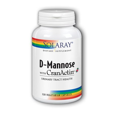 Solaray D Mannose with Cranactin 1000 mg Vegetable Capsules, 120 Ct