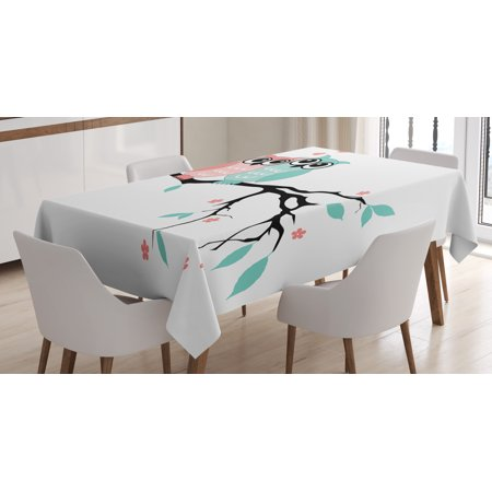 Teal and White Tablecloth, Cute Owl Couple Sitting on Tree Branch Valentines Romance Love, Rectangular Table Cover for Dining Room Kitchen, 52 X 70 Inches, Turquoise Coral Black, by Ambesonne - Valentines Tablecloth