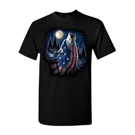American Flag Howling Wolf Men's T-shirt Animal 4th of July USA Tee for $<!---->