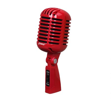Classic Retro Dynamic Vocal Microphone, Vintage Style Vocal Mic with 16' ft. XLR Cable (Red)