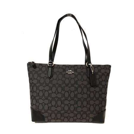 Coach Signature Zip Tote Shoulder Handbag In Black Smoke