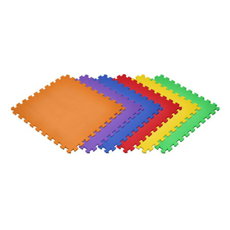 Norsk Rainbow 24 in. x 24 in. EVA Foam Non-Toxic Solid Color Interlocking Tiles, 24