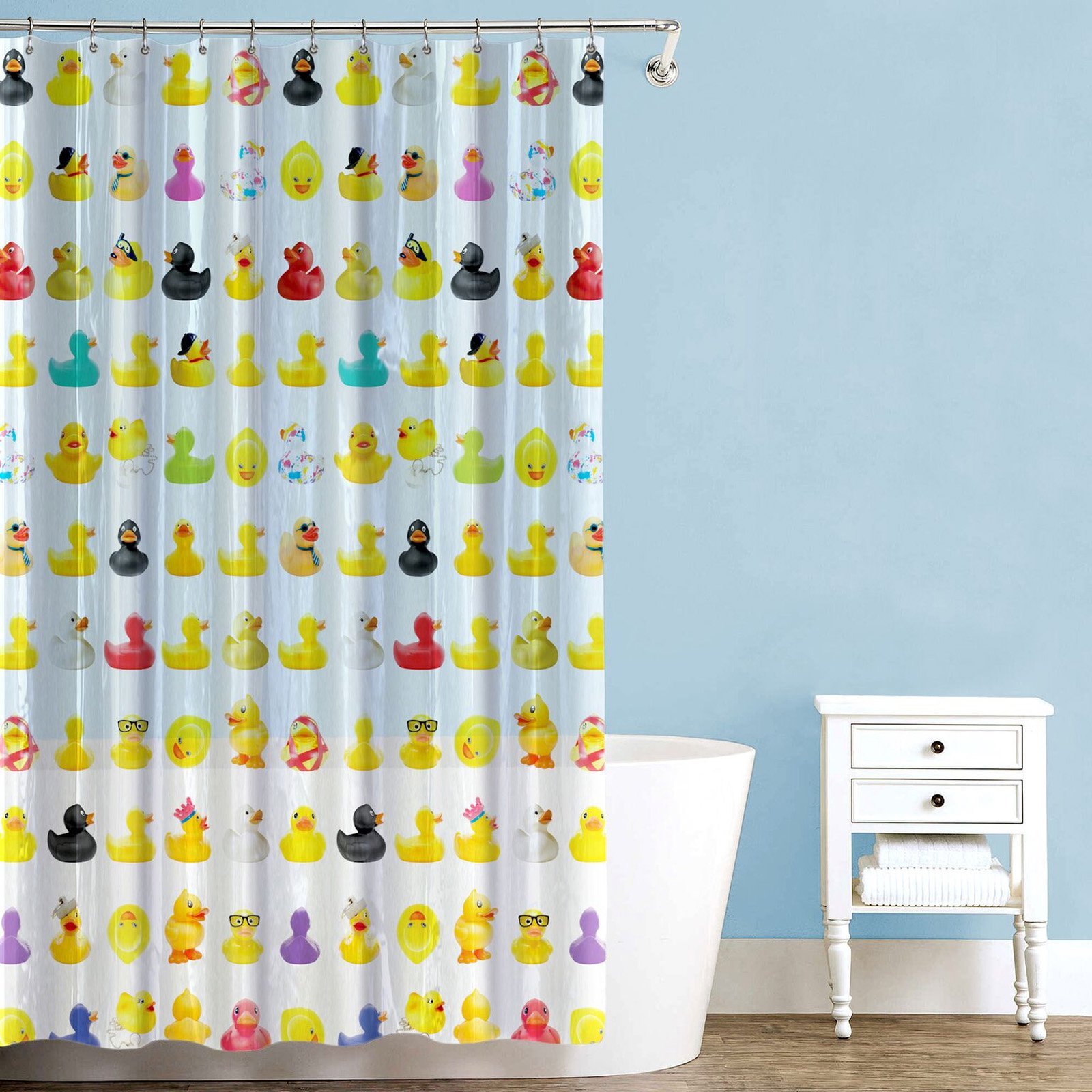 Sweet Home Collection EVA Duckies Shower Curtain
