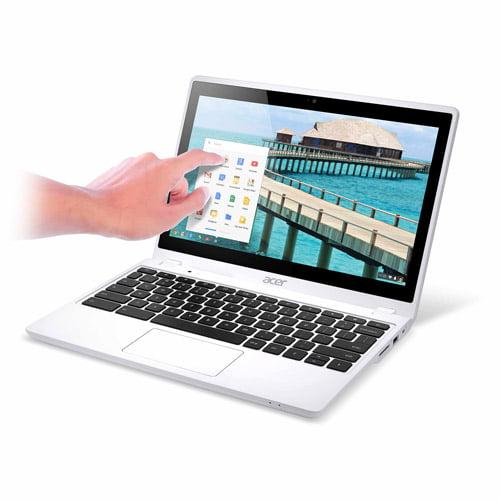 "Acer White 11.6"" C720P-2600 Chromebook PC with Intel Celeron 2955U Processor, 2GB Memory, touch screen, 32GB SSD and Chrome OS"