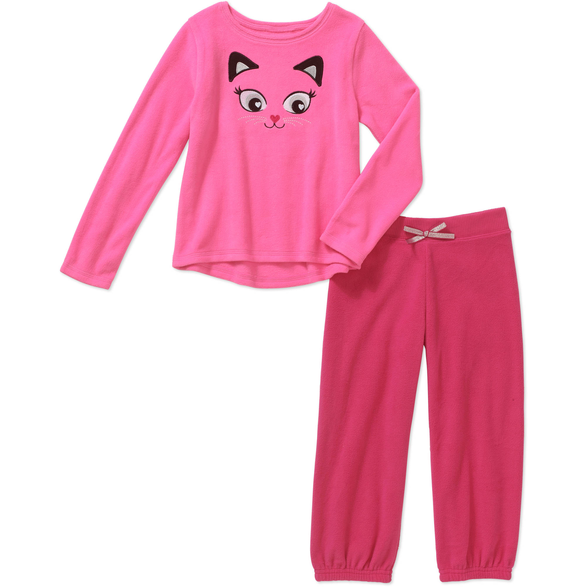 365 Kids from Garanimals Girls' Long Sleeve Applique Polar Fleece Top and Polar Fleece Pant Outfit Set