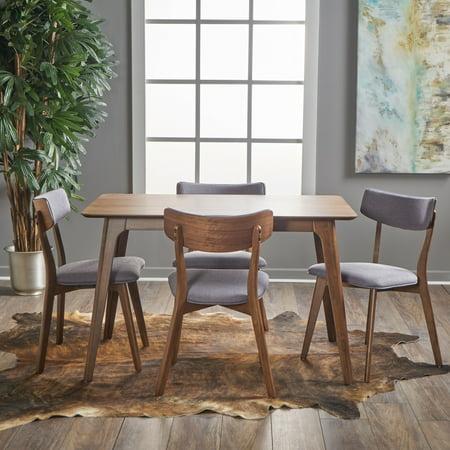Noble House Alexa Mid Century Natural Walnut Wood Dark Grey 5 Piece Dining Set