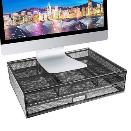 Pro Space Monitor Stand Riser - Dual Stack Pull Out Storage Drawer Mesh Metal Desk Organizer Compatible with Computer Monitor, Laptop, Printer, Notebook, iMac - Holds up to 33 lbs